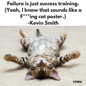 Failure is just success training. (Yeah, I know that sounds like a F---ing cat poster.) -Kevin Smith