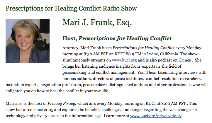 Mari Frank, Fighting for Love, Conflict Healing